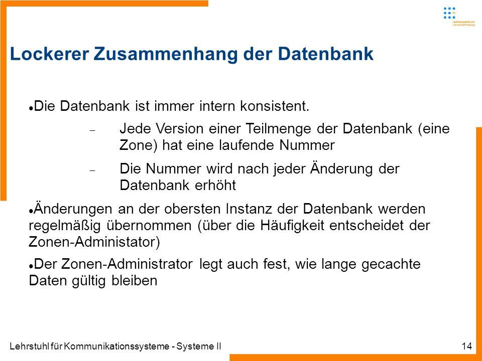 Lehrstuhl für Kommunikationssysteme - Systeme II14 Lockerer Zusammenhang der Datenbank Die Datenbank ist immer intern konsistent.