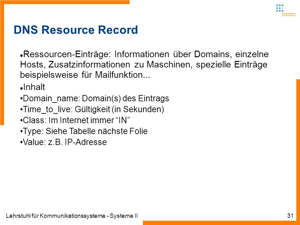 Lehrstuhl für Kommunikationssysteme - Systeme II31 DNS Resource Record Ressourcen-Einträge: Informationen über Domains, einzelne Hosts, Zusatzinformationen zu Maschinen, spezielle Einträge beispielsweise für Mailfunktion...