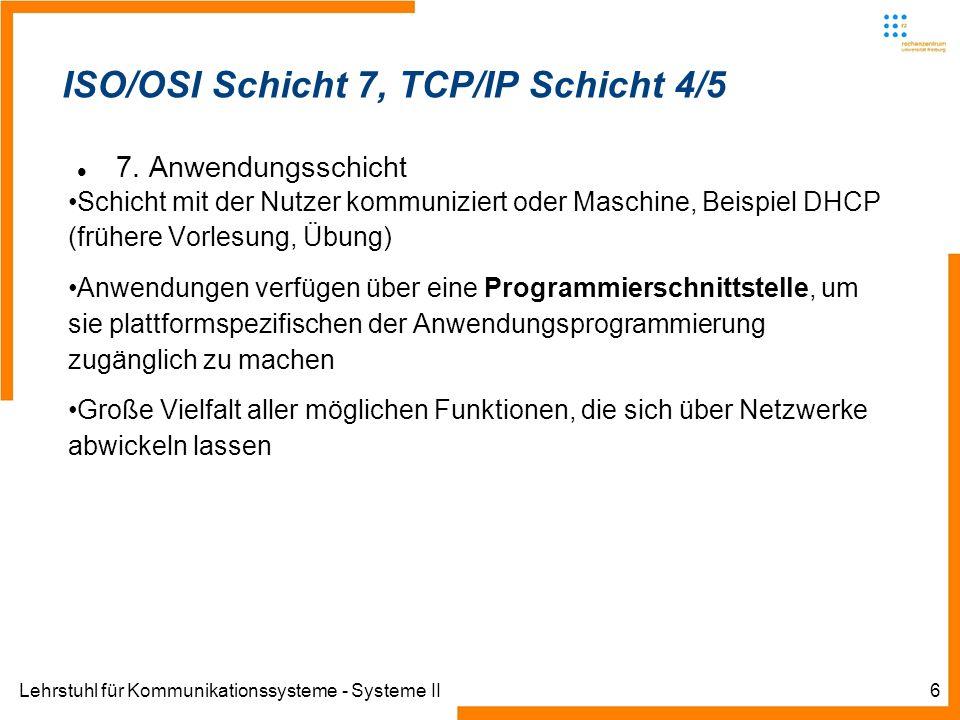 Lehrstuhl für Kommunikationssysteme - Systeme II7 ISO/OSI – Anwendung (A)