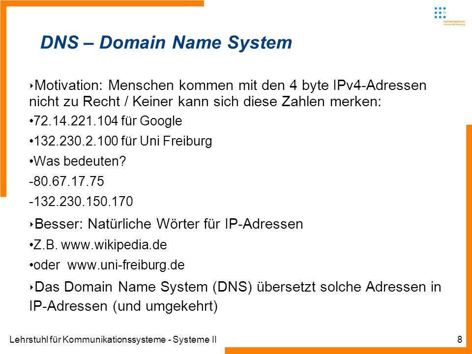 Lehrstuhl für Kommunikationssysteme - Systeme II8 DNS – Domain Name System Motivation: Menschen kommen mit den 4 byte IPv4-Adressen nicht zu Recht / Keiner kann sich diese Zahlen merken: 72.14.221.104 für Google 132.230.2.100 für Uni Freiburg Was bedeuten.