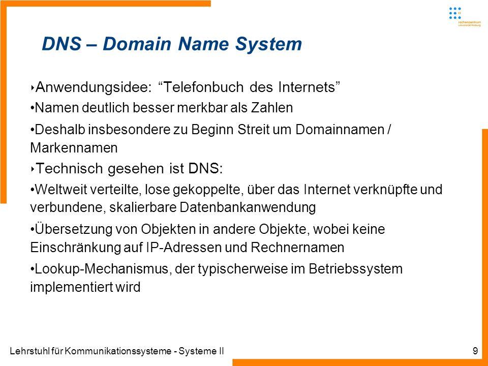 Lehrstuhl für Kommunikationssysteme - Systeme II9 DNS – Domain Name System Anwendungsidee: Telefonbuch des Internets Namen deutlich besser merkbar als Zahlen Deshalb insbesondere zu Beginn Streit um Domainnamen / Markennamen Technisch gesehen ist DNS: Weltweit verteilte, lose gekoppelte, über das Internet verknüpfte und verbundene, skalierbare Datenbankanwendung Übersetzung von Objekten in andere Objekte, wobei keine Einschränkung auf IP-Adressen und Rechnernamen Lookup-Mechanismus, der typischerweise im Betriebssystem implementiert wird