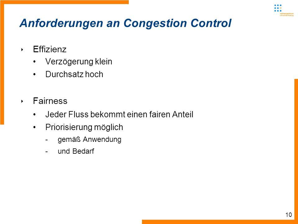 10 Anforderungen an Congestion Control Effizienz Verzögerung klein Durchsatz hoch Fairness Jeder Fluss bekommt einen fairen Anteil Priorisierung möglich -gemäß Anwendung -und Bedarf
