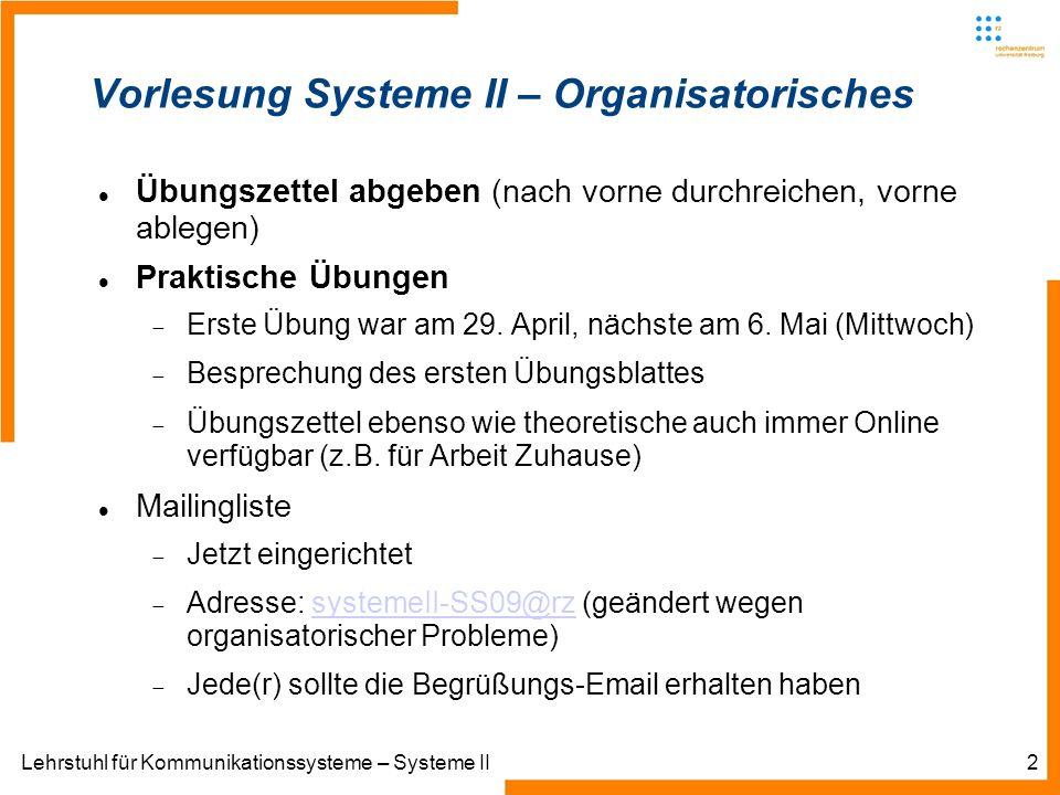Lehrstuhl für Kommunikationssysteme – Systeme II2 Übungszettel abgeben (nach vorne durchreichen, vorne ablegen) Praktische Übungen Erste Übung war am 29.