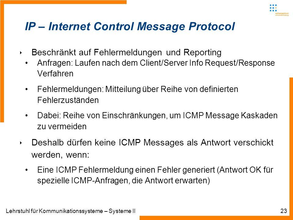 Lehrstuhl für Kommunikationssysteme – Systeme II23 IP – Internet Control Message Protocol Beschränkt auf Fehlermeldungen und Reporting Anfragen: Laufen nach dem Client/Server Info Request/Response Verfahren Fehlermeldungen: Mitteilung über Reihe von definierten Fehlerzuständen Dabei: Reihe von Einschränkungen, um ICMP Message Kaskaden zu vermeiden Deshalb dürfen keine ICMP Messages als Antwort verschickt werden, wenn: Eine ICMP Fehlermeldung einen Fehler generiert (Antwort OK für spezielle ICMP-Anfragen, die Antwort erwarten)