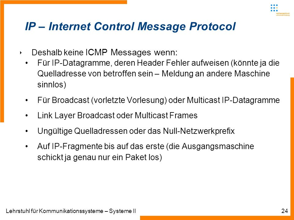Lehrstuhl für Kommunikationssysteme – Systeme II24 IP – Internet Control Message Protocol Deshalb keine ICMP Messages wenn: Für IP-Datagramme, deren Header Fehler aufweisen (könnte ja die Quelladresse von betroffen sein – Meldung an andere Maschine sinnlos) Für Broadcast (vorletzte Vorlesung) oder Multicast IP-Datagramme Link Layer Broadcast oder Multicast Frames Ungültige Quelladressen oder das Null-Netzwerkprefix Auf IP-Fragmente bis auf das erste (die Ausgangsmaschine schickt ja genau nur ein Paket los)