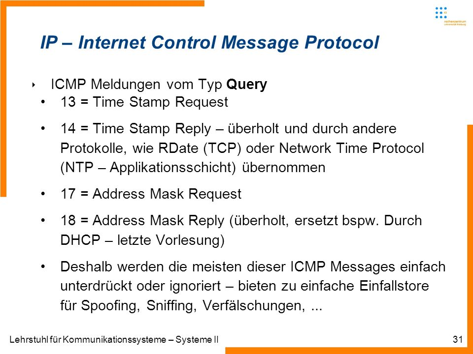 Lehrstuhl für Kommunikationssysteme – Systeme II31 IP – Internet Control Message Protocol ICMP Meldungen vom Typ Query 13 = Time Stamp Request 14 = Ti