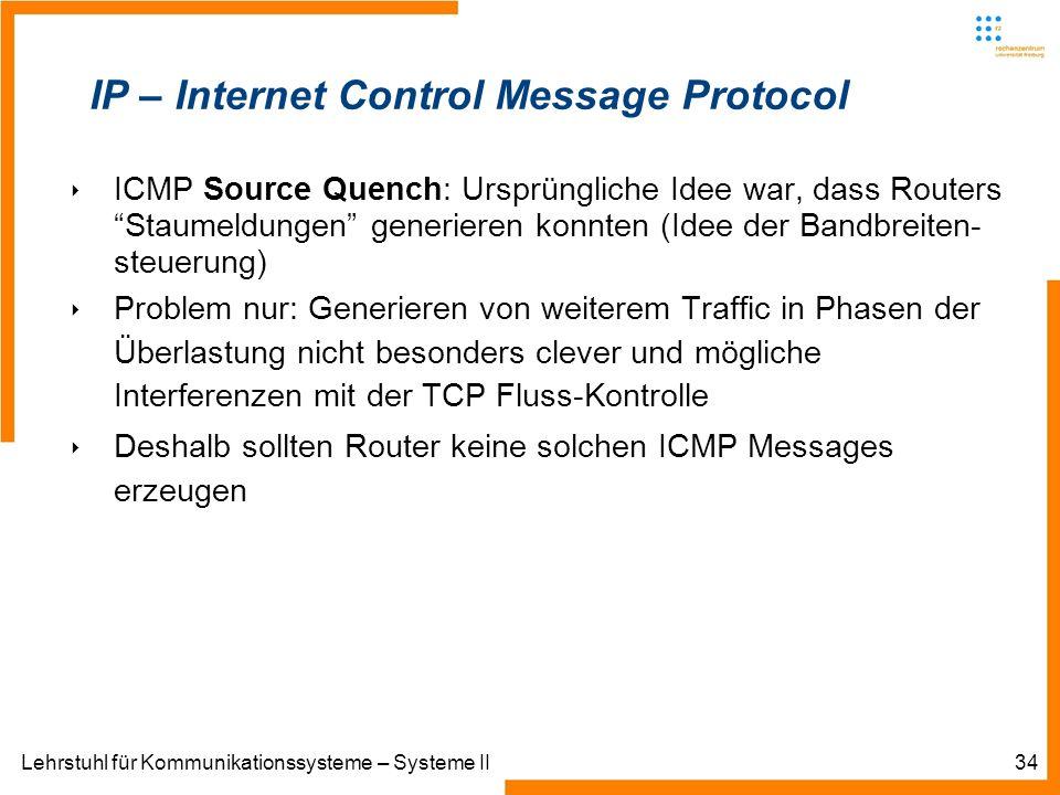 Lehrstuhl für Kommunikationssysteme – Systeme II34 IP – Internet Control Message Protocol ICMP Source Quench: Ursprüngliche Idee war, dass Routers Staumeldungen generieren konnten (Idee der Bandbreiten- steuerung) Problem nur: Generieren von weiterem Traffic in Phasen der Überlastung nicht besonders clever und mögliche Interferenzen mit der TCP Fluss-Kontrolle Deshalb sollten Router keine solchen ICMP Messages erzeugen