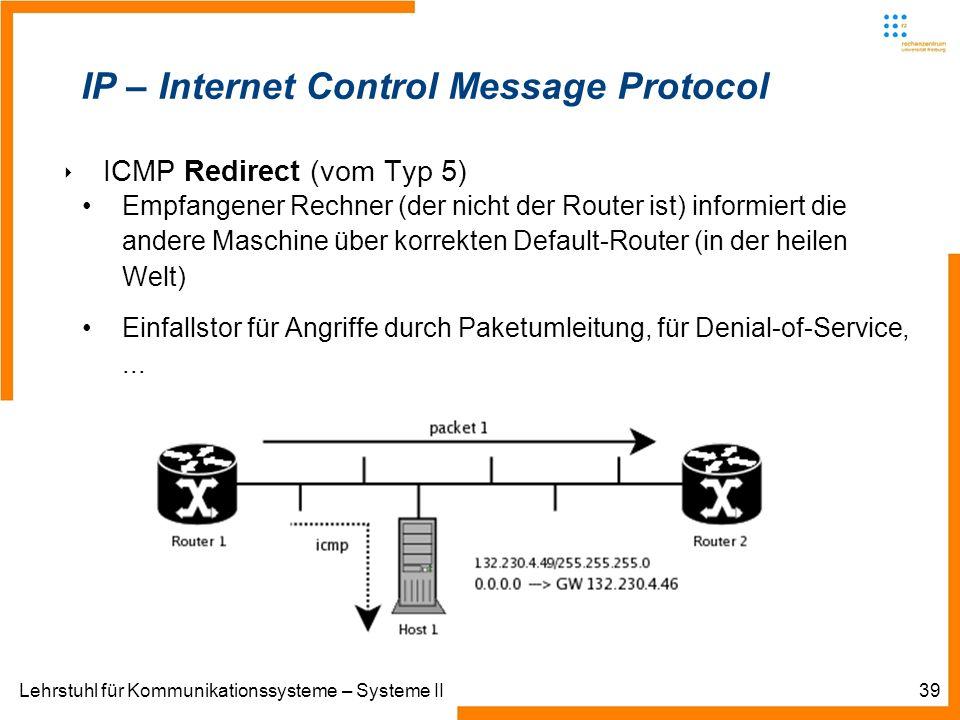 Lehrstuhl für Kommunikationssysteme – Systeme II39 IP – Internet Control Message Protocol ICMP Redirect (vom Typ 5) Empfangener Rechner (der nicht der Router ist) informiert die andere Maschine über korrekten Default-Router (in der heilen Welt) Einfallstor für Angriffe durch Paketumleitung, für Denial-of-Service,...