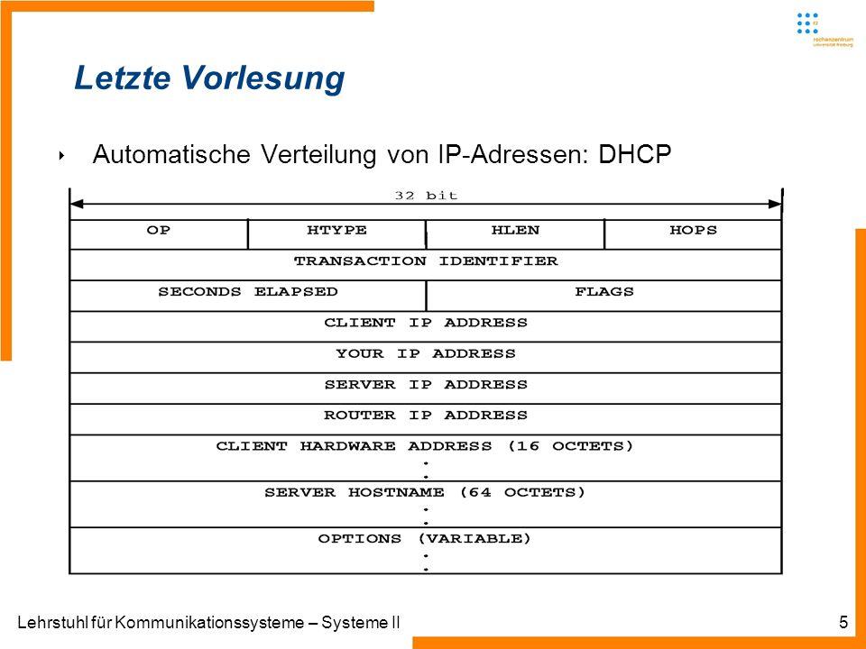 Lehrstuhl für Kommunikationssysteme – Systeme II5 Letzte Vorlesung Automatische Verteilung von IP-Adressen: DHCP
