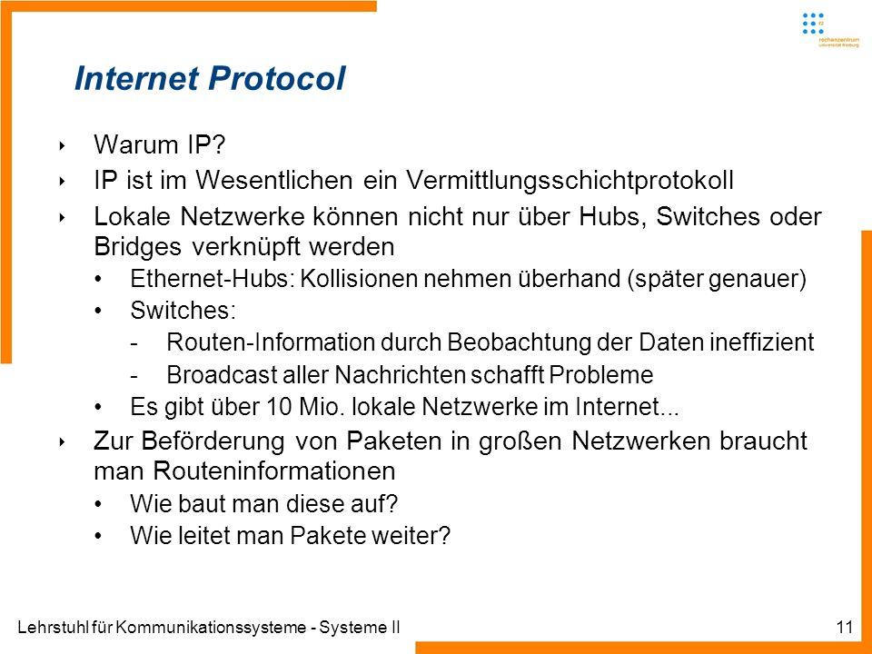 Lehrstuhl für Kommunikationssysteme - Systeme II11 Internet Protocol Warum IP.