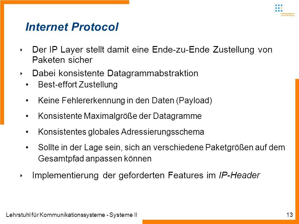 Lehrstuhl für Kommunikationssysteme - Systeme II13 Internet Protocol Der IP Layer stellt damit eine Ende-zu-Ende Zustellung von Paketen sicher Dabei konsistente Datagrammabstraktion Best-effort Zustellung Keine Fehlererkennung in den Daten (Payload) Konsistente Maximalgröße der Datagramme Konsistentes globales Adressierungsschema Sollte in der Lage sein, sich an verschiedene Paketgrößen auf dem Gesamtpfad anpassen können Implementierung der geforderten Features im IP-Header