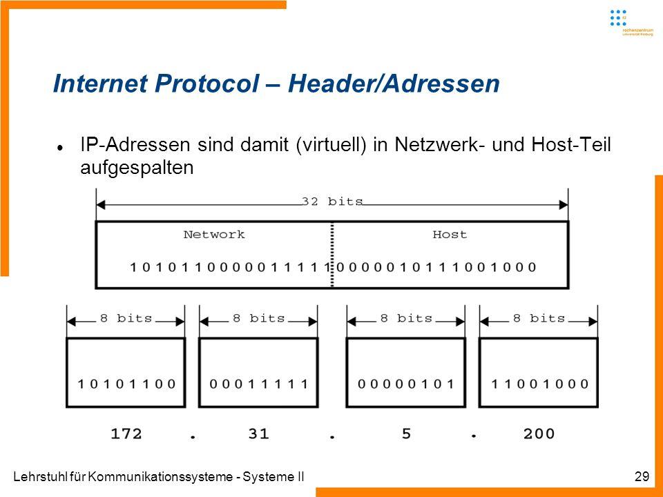Lehrstuhl für Kommunikationssysteme - Systeme II29 Internet Protocol – Header/Adressen IP-Adressen sind damit (virtuell) in Netzwerk- und Host-Teil aufgespalten