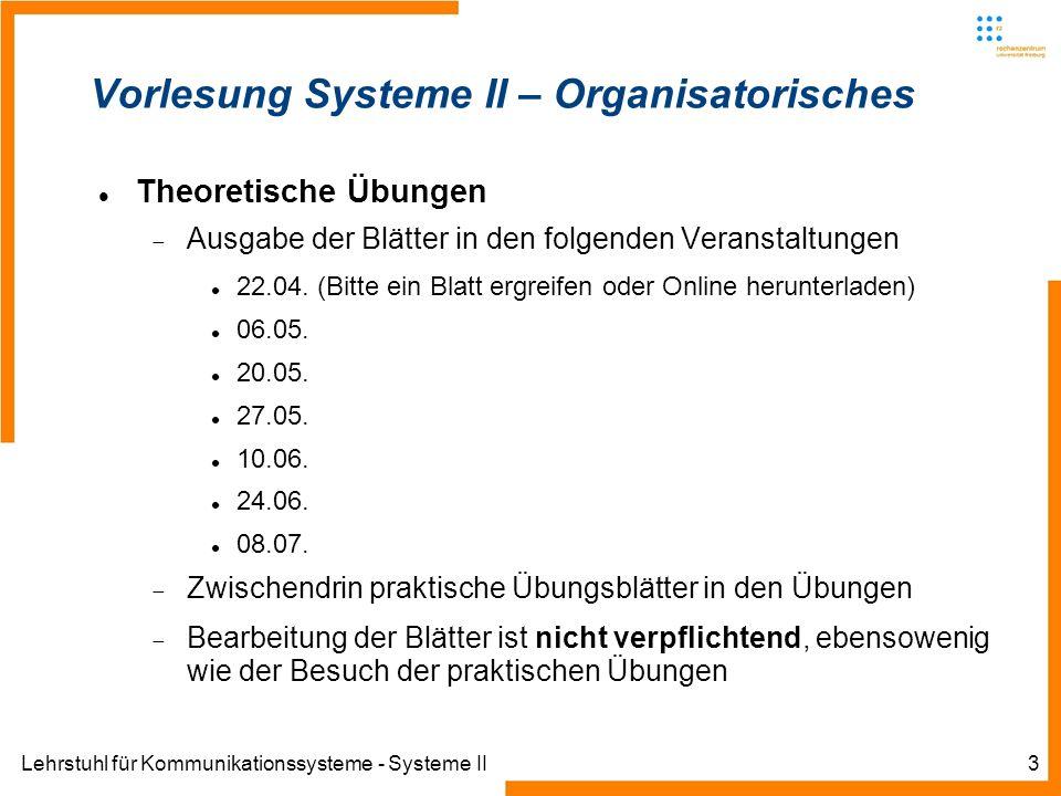 Lehrstuhl für Kommunikationssysteme - Systeme II4 Inhalt der Vorlesung IP auf der Vermittlungsschicht IP Header Fragmentierung TTL Ziel und Quelladressen...