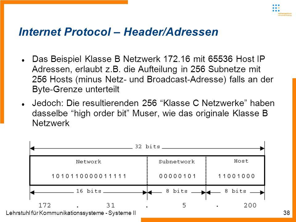 Lehrstuhl für Kommunikationssysteme - Systeme II38 Internet Protocol – Header/Adressen Das Beispiel Klasse B Netzwerk 172.16 mit 65536 Host IP Adressen, erlaubt z.B.