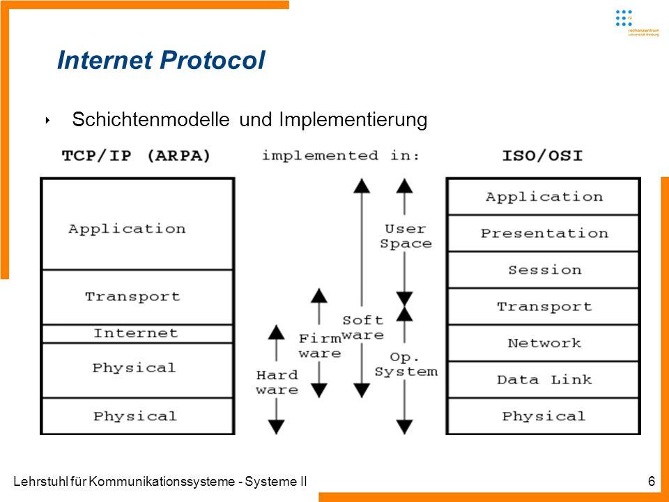 Lehrstuhl für Kommunikationssysteme - Systeme II17 Internet Protocol – Fragmentierung IP hat die Aufgabe der Datagrammanpassung IP Datagramme können nicht größe als 64 kByte sein (Beschränkung durch Größenfeld im Header) Layer 2 Protokolle melden initiale MTU Linux loopback 16384 Byte Ethernet Frames können max.