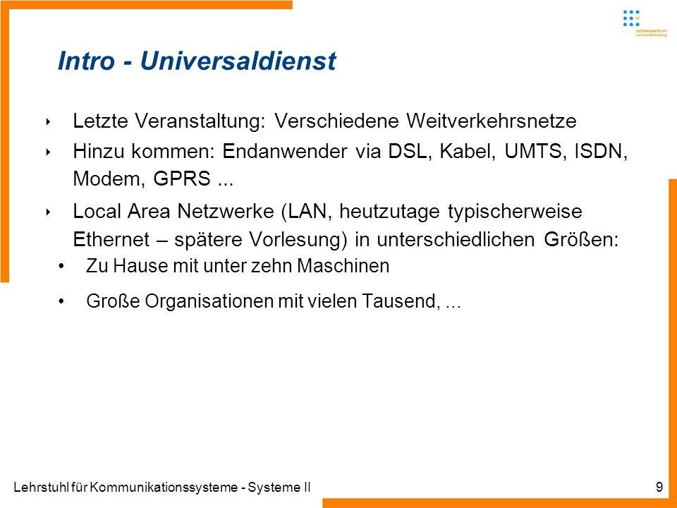 Lehrstuhl für Kommunikationssysteme - Systeme II9 Intro - Universaldienst Letzte Veranstaltung: Verschiedene Weitverkehrsnetze Hinzu kommen: Endanwender via DSL, Kabel, UMTS, ISDN, Modem, GPRS...