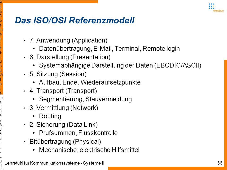 Lehrstuhl für Kommunikationssysteme - Systeme II36 Informatik IIIWinter 2007/08Informatik IIIWinter 2007/08 Rechnernetze und TelematikAlbert-Ludwig-Un