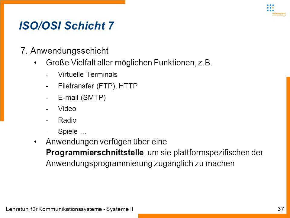 Lehrstuhl für Kommunikationssysteme - Systeme II37 Informatik IIIWinter 2007/08Informatik IIIWinter 2007/08 Rechnernetze und TelematikAlbert-Ludwig-Un