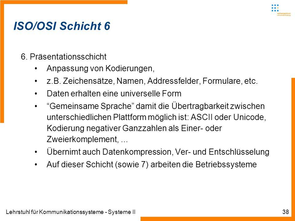 Lehrstuhl für Kommunikationssysteme - Systeme II38 Informatik IIIWinter 2007/08Informatik IIIWinter 2007/08 Rechnernetze und TelematikAlbert-Ludwig-Un