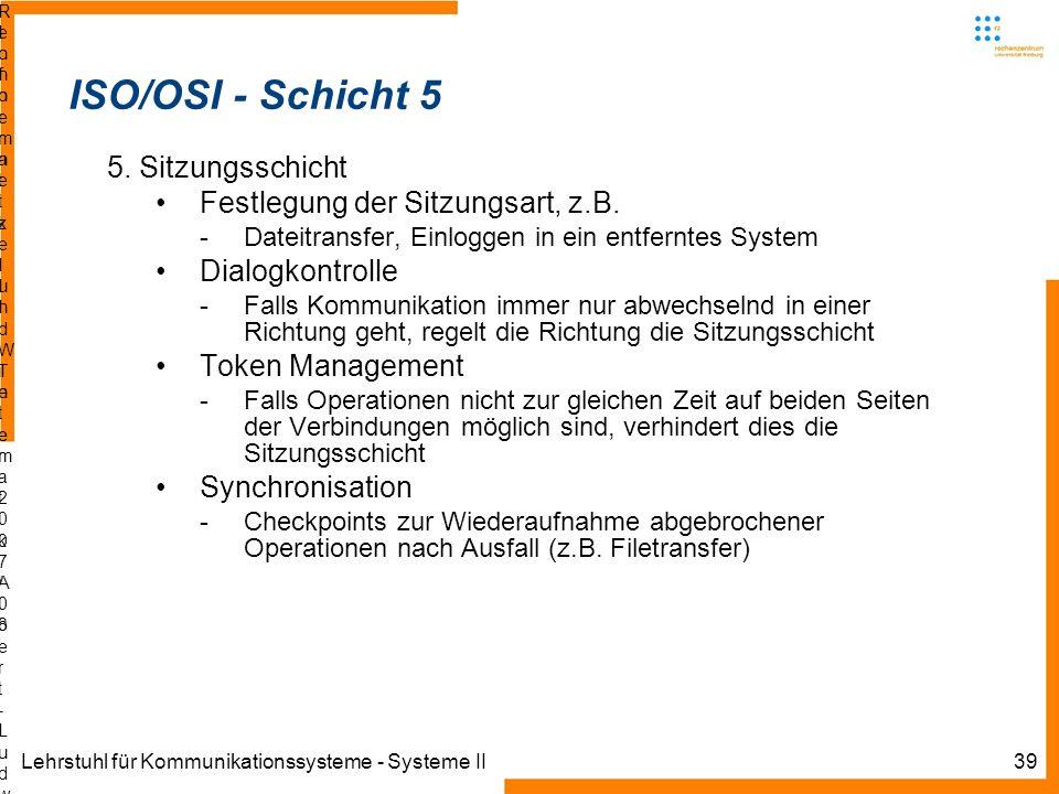 Lehrstuhl für Kommunikationssysteme - Systeme II39 Informatik IIIWinter 2007/08Informatik IIIWinter 2007/08 Rechnernetze und TelematikAlbert-Ludwig-Un