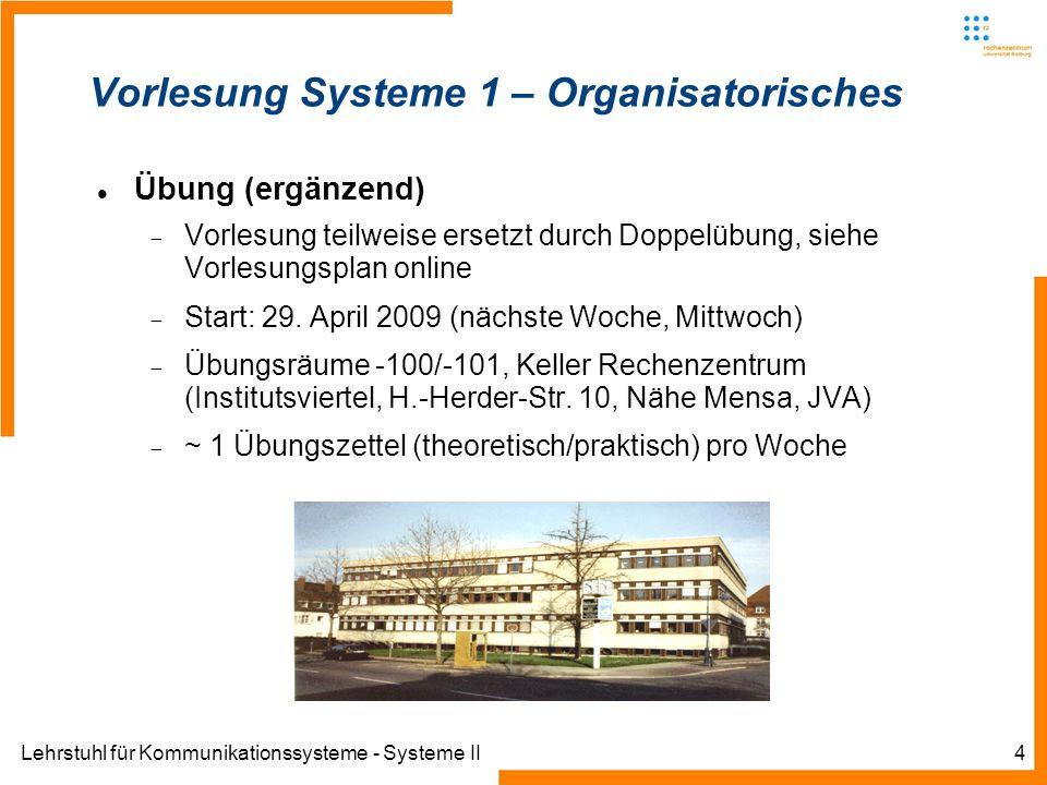Lehrstuhl für Kommunikationssysteme - Systeme II4 Vorlesung Systeme 1 – Organisatorisches Übung (ergänzend) Vorlesung teilweise ersetzt durch Doppelüb