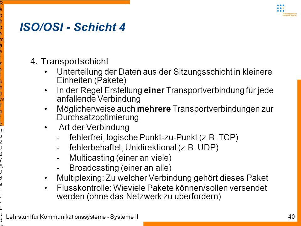 Lehrstuhl für Kommunikationssysteme - Systeme II40 Informatik IIIWinter 2007/08Informatik IIIWinter 2007/08 Rechnernetze und TelematikAlbert-Ludwig-Un
