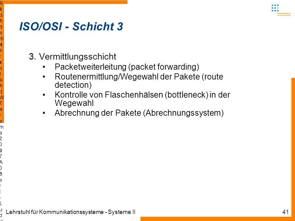 Lehrstuhl für Kommunikationssysteme - Systeme II41 Informatik IIIWinter 2007/08Informatik IIIWinter 2007/08 Rechnernetze und TelematikAlbert-Ludwig-Un
