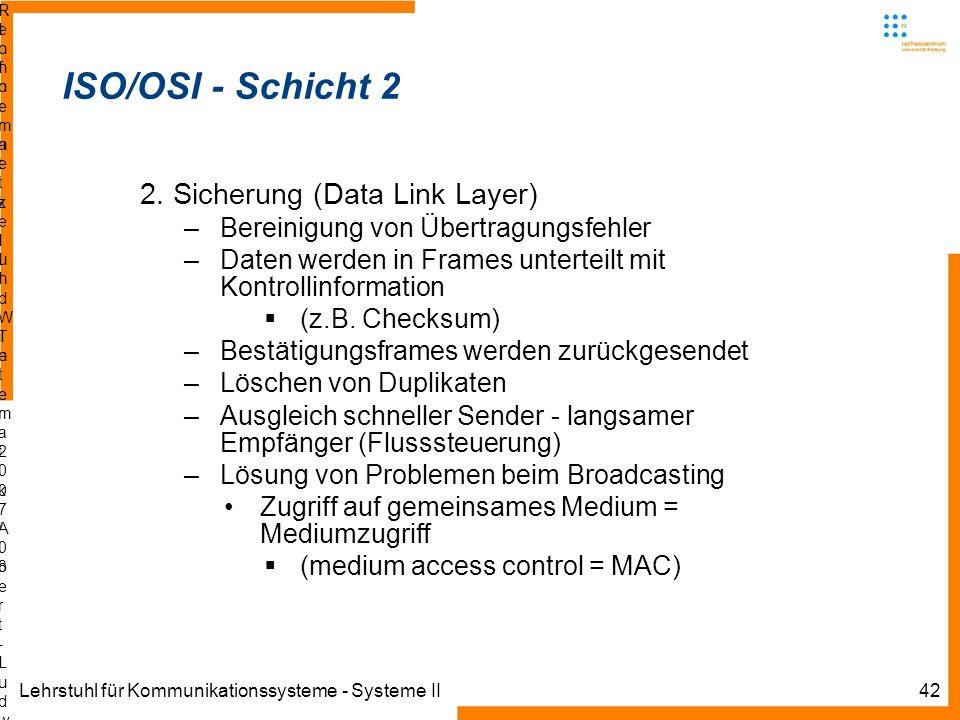 Lehrstuhl für Kommunikationssysteme - Systeme II42 Informatik IIIWinter 2007/08Informatik IIIWinter 2007/08 Rechnernetze und TelematikAlbert-Ludwig-Un