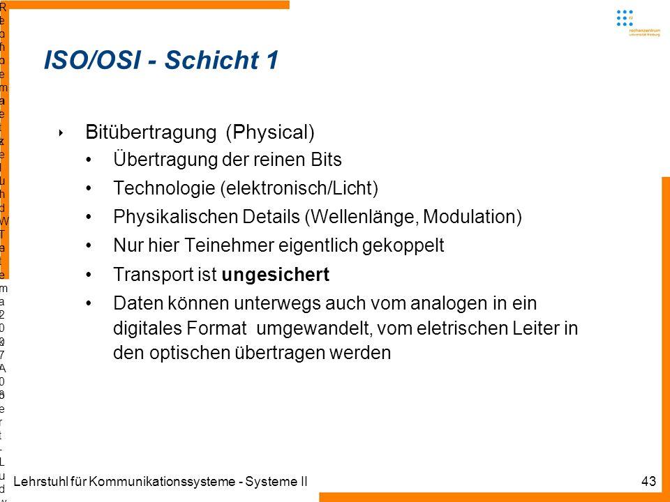 Lehrstuhl für Kommunikationssysteme - Systeme II43 Informatik IIIWinter 2007/08Informatik IIIWinter 2007/08 Rechnernetze und TelematikAlbert-Ludwig-Un