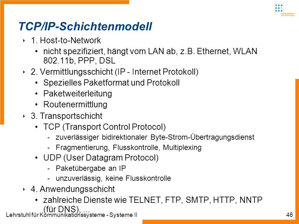Lehrstuhl für Kommunikationssysteme - Systeme II46 Informatik IIIWinter 2007/08Informatik IIIWinter 2007/08 Rechnernetze und TelematikAlbert-Ludwig-Un