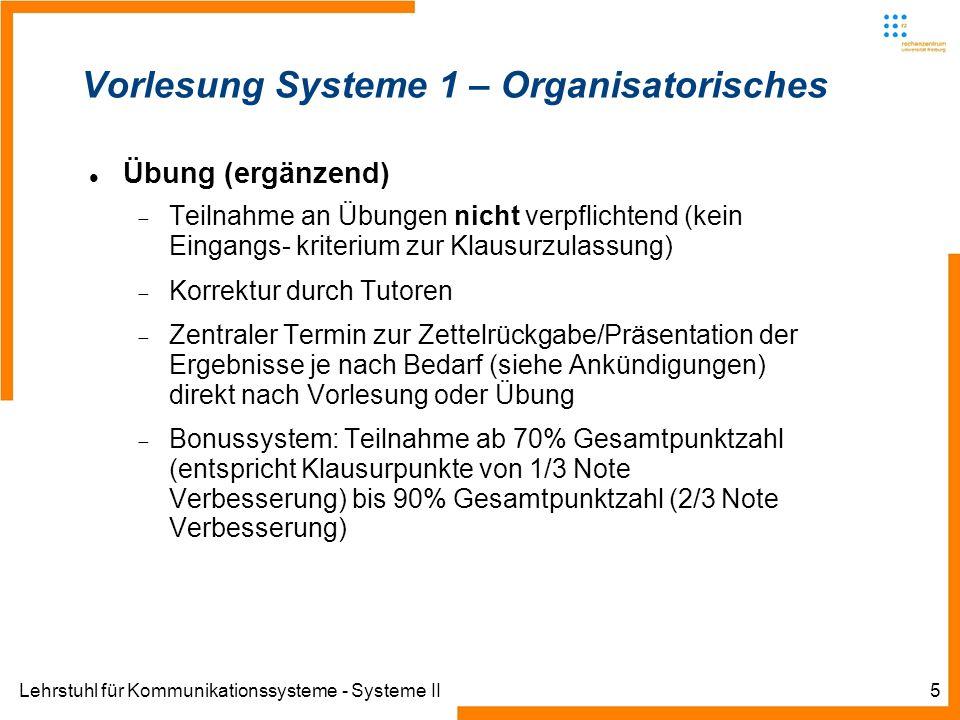Lehrstuhl für Kommunikationssysteme - Systeme II5 Übung (ergänzend) Teilnahme an Übungen nicht verpflichtend (kein Eingangs- kriterium zur Klausurzula