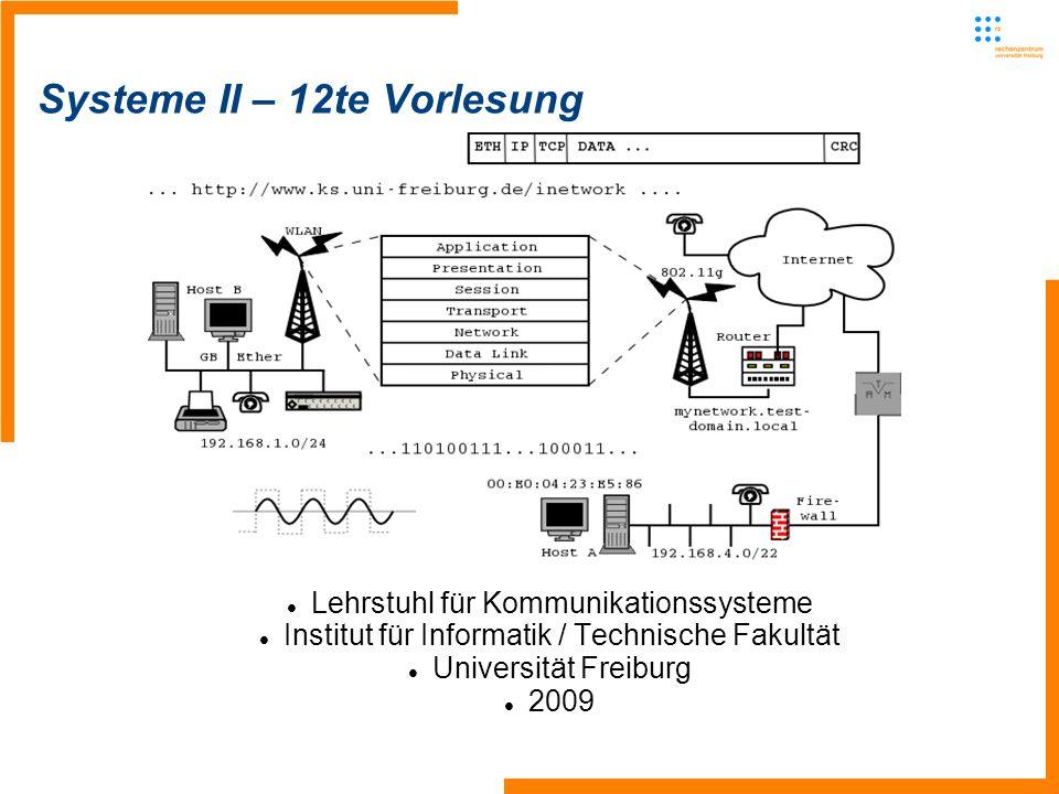Lehrstuhl für Kommunikationssysteme - Systeme II12 IP Multicast Source sendet an die Multicast-Adresse Router duplizieren die Nachrichten an den Routern und verteilen sie in die Bäume Angemeldete Hosts erhalten diese Nachrichten bis zu einem Time-Out oder bis sie sich abmelden Achtung: Kein TCP, nur UDP – mal überlegen, weshalb kein TCP mit Multicast möglich ist Viele Router lehnen die Beförderung von Multicast-Nachrichten ab -Lösung: Tunneln