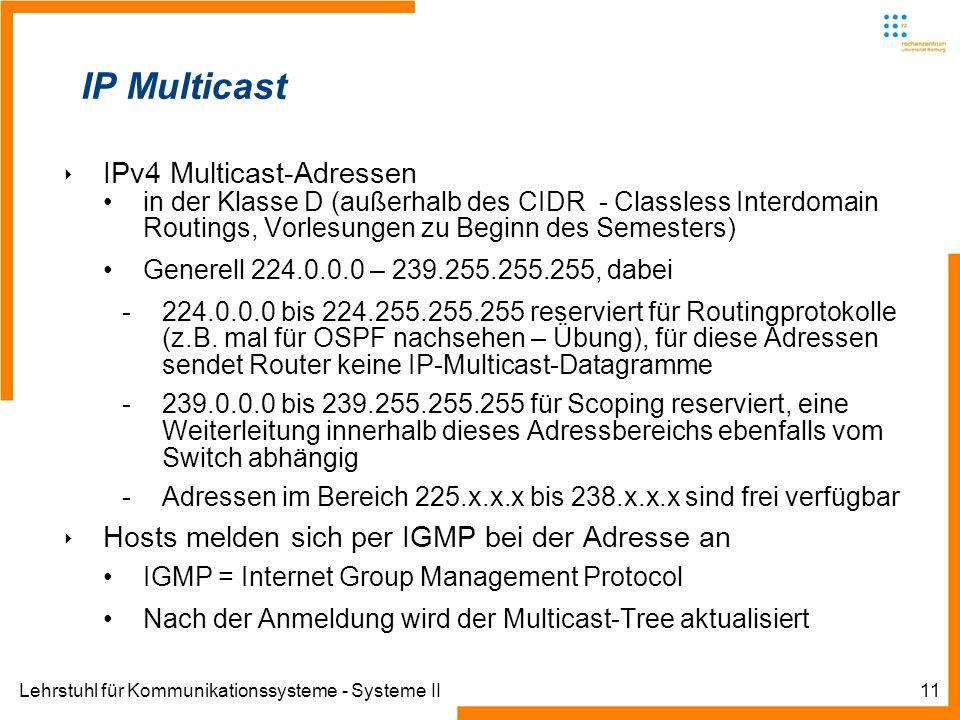 Lehrstuhl für Kommunikationssysteme - Systeme II11 IP Multicast IPv4 Multicast-Adressen in der Klasse D (außerhalb des CIDR - Classless Interdomain Ro