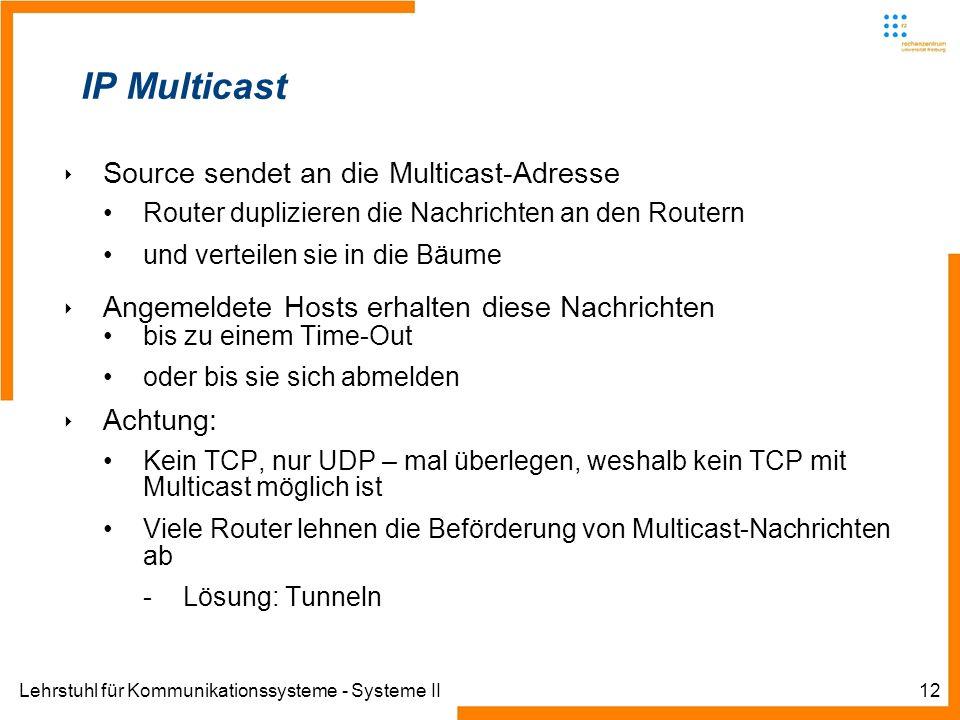 Lehrstuhl für Kommunikationssysteme - Systeme II12 IP Multicast Source sendet an die Multicast-Adresse Router duplizieren die Nachrichten an den Route