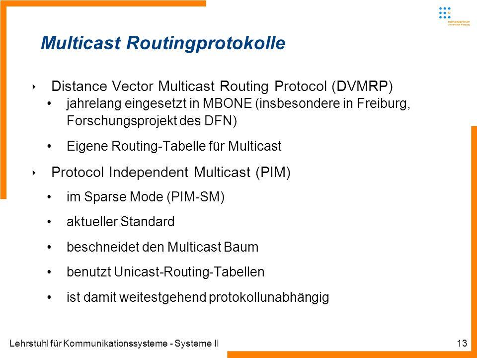 Lehrstuhl für Kommunikationssysteme - Systeme II13 Multicast Routingprotokolle Distance Vector Multicast Routing Protocol (DVMRP) jahrelang eingesetzt