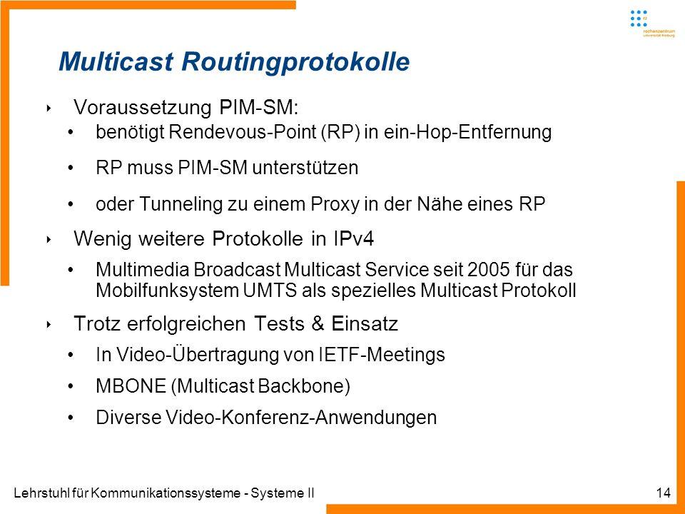 Lehrstuhl für Kommunikationssysteme - Systeme II14 Multicast Routingprotokolle Voraussetzung PIM-SM: benötigt Rendevous-Point (RP) in ein-Hop-Entfernu