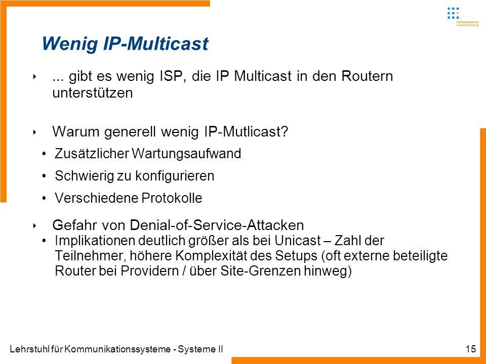 Lehrstuhl für Kommunikationssysteme - Systeme II15 Wenig IP-Multicast... gibt es wenig ISP, die IP Multicast in den Routern unterstützen Warum generel