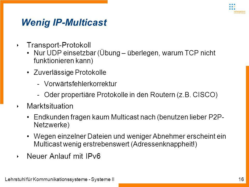 Lehrstuhl für Kommunikationssysteme - Systeme II16 Wenig IP-Multicast Transport-Protokoll Nur UDP einsetzbar (Übung – überlegen, warum TCP nicht funkt