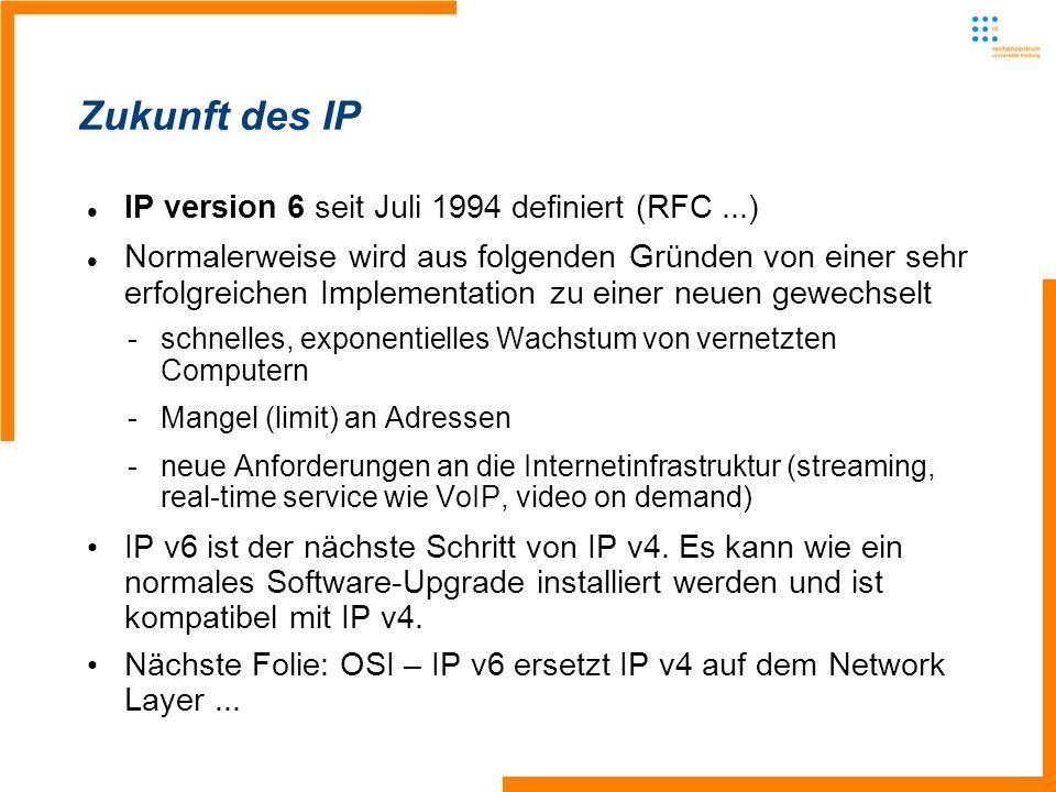 Zukunft des IP IP version 6 seit Juli 1994 definiert (RFC...) Normalerweise wird aus folgenden Gründen von einer sehr erfolgreichen Implementation zu