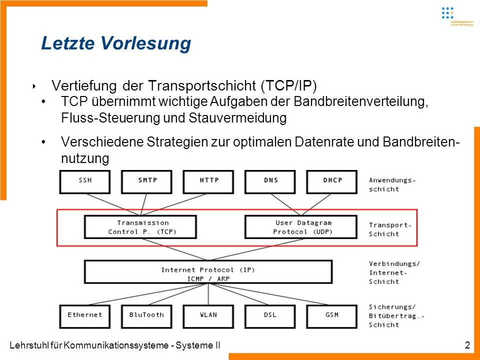 Lehrstuhl für Kommunikationssysteme - Systeme II13 Multicast Routingprotokolle Distance Vector Multicast Routing Protocol (DVMRP) jahrelang eingesetzt in MBONE (insbesondere in Freiburg, Forschungsprojekt des DFN) Eigene Routing-Tabelle für Multicast Protocol Independent Multicast (PIM) im Sparse Mode (PIM-SM) aktueller Standard beschneidet den Multicast Baum benutzt Unicast-Routing-Tabellen ist damit weitestgehend protokollunabhängig