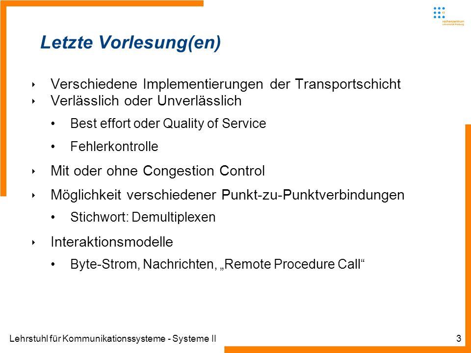 Lehrstuhl für Kommunikationssysteme - Systeme II3 Letzte Vorlesung(en) Verschiedene Implementierungen der Transportschicht Verlässlich oder Unverlässl