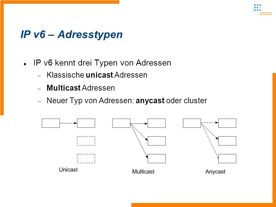 IP v6 – Adresstypen IP v6 kennt drei Typen von Adressen Klassische unicast Adressen Multicast Adressen Neuer Typ von Adressen: anycast oder cluster