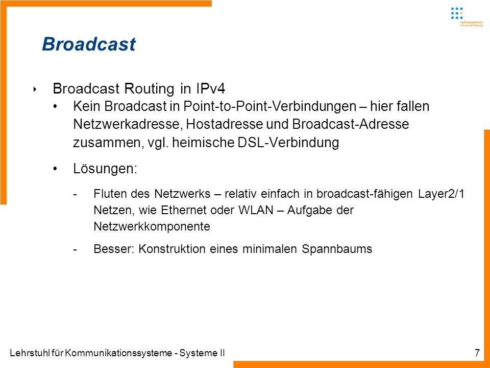 Lehrstuhl für Kommunikationssysteme - Systeme II7 Broadcast Broadcast Routing in IPv4 Kein Broadcast in Point-to-Point-Verbindungen – hier fallen Netz