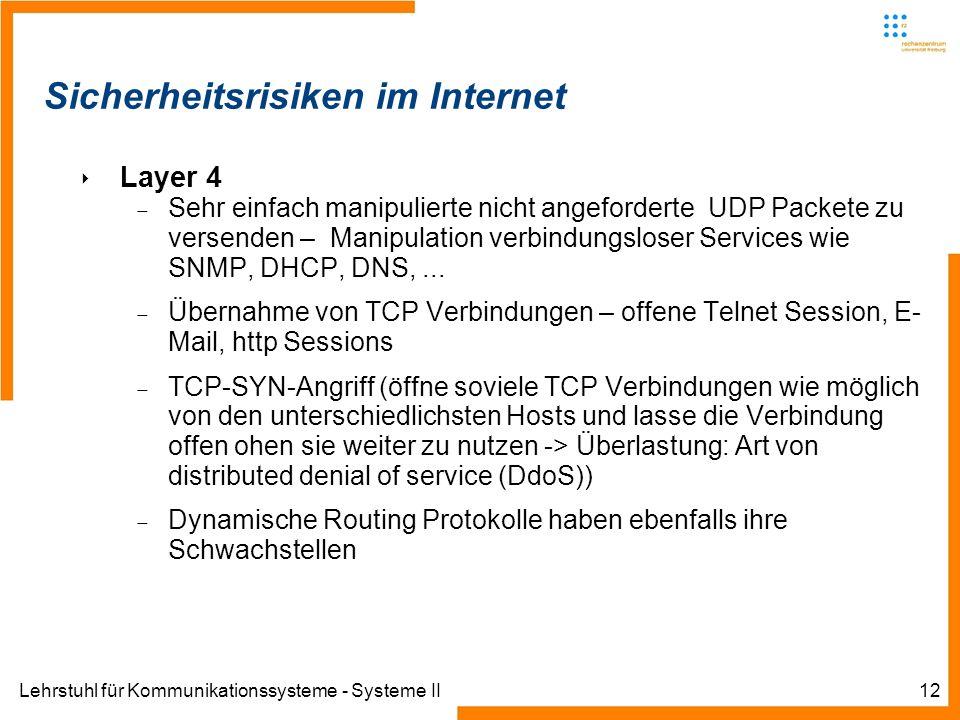 Lehrstuhl für Kommunikationssysteme - Systeme II12 Sicherheitsrisiken im Internet Layer 4 Sehr einfach manipulierte nicht angeforderte UDP Packete zu versenden – Manipulation verbindungsloser Services wie SNMP, DHCP, DNS,...