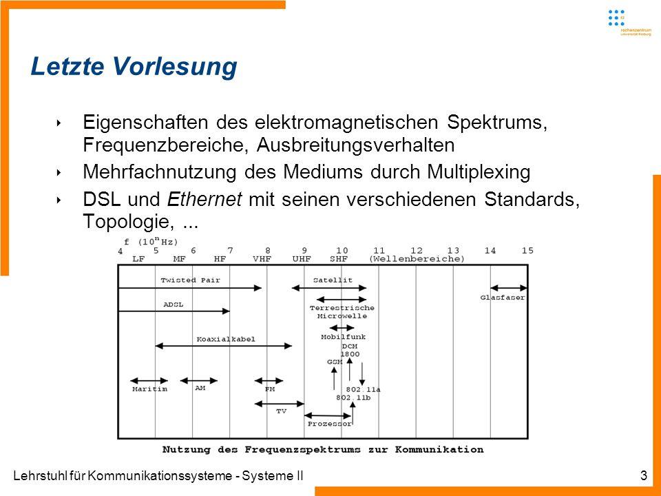 Lehrstuhl für Kommunikationssysteme - Systeme II3 Letzte Vorlesung Eigenschaften des elektromagnetischen Spektrums, Frequenzbereiche, Ausbreitungsverhalten Mehrfachnutzung des Mediums durch Multiplexing DSL und Ethernet mit seinen verschiedenen Standards, Topologie,...