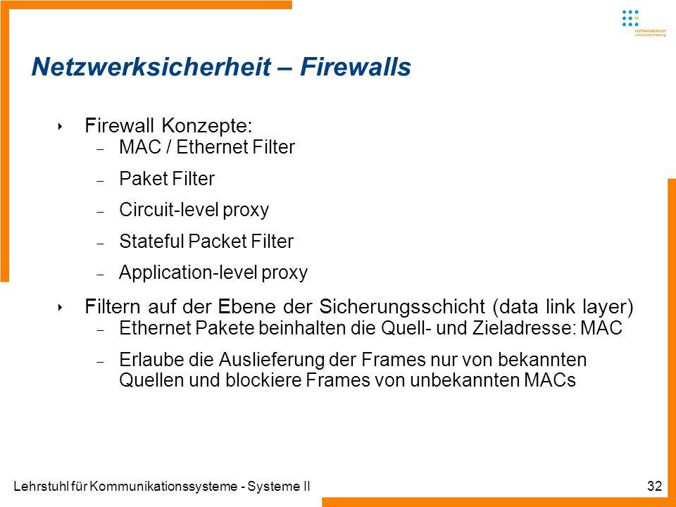 Lehrstuhl für Kommunikationssysteme - Systeme II32 Netzwerksicherheit – Firewalls Firewall Konzepte: MAC / Ethernet Filter Paket Filter Circuit-level proxy Stateful Packet Filter Application-level proxy Filtern auf der Ebene der Sicherungsschicht (data link layer) Ethernet Pakete beinhalten die Quell- und Zieladresse: MAC Erlaube die Auslieferung der Frames nur von bekannten Quellen und blockiere Frames von unbekannten MACs