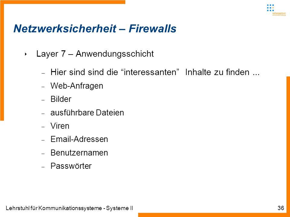 Lehrstuhl für Kommunikationssysteme - Systeme II36 Netzwerksicherheit – Firewalls Layer 7 – Anwendungsschicht Hier sind sind die interessanten Inhalte zu finden...