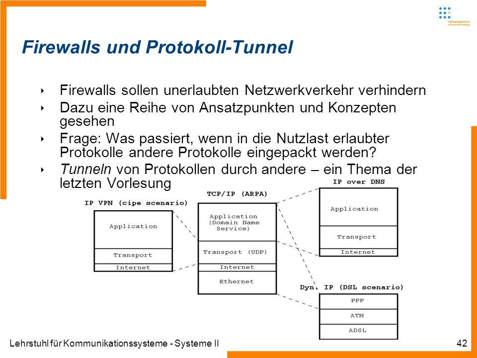 Lehrstuhl für Kommunikationssysteme - Systeme II42 Firewalls und Protokoll-Tunnel Firewalls sollen unerlaubten Netzwerkverkehr verhindern Dazu eine Reihe von Ansatzpunkten und Konzepten gesehen Frage: Was passiert, wenn in die Nutzlast erlaubter Protokolle andere Protokolle eingepackt werden.