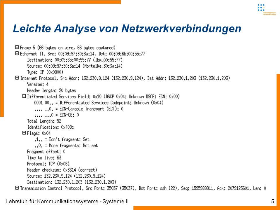 Lehrstuhl für Kommunikationssysteme - Systeme II5 Leichte Analyse von Netzwerkverbindungen