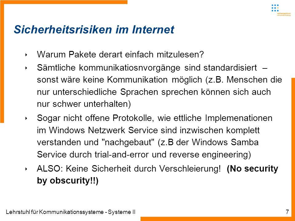 Lehrstuhl für Kommunikationssysteme - Systeme II7 Sicherheitsrisiken im Internet Warum Pakete derart einfach mitzulesen.